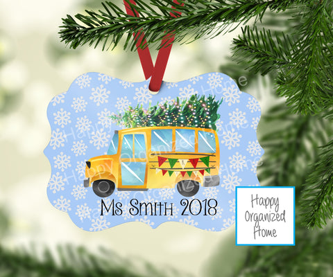 Bus Driver Personalized Christmas Ornament