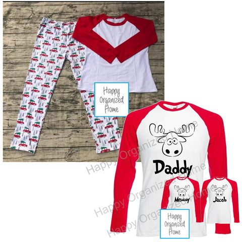 Christmas Family Pajamas - Personalized Moose Head