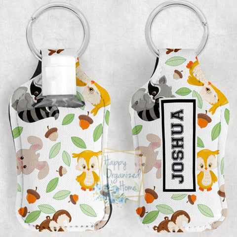 Cute Forest Animals Personalized Hand Sanitizer Holder Key chain. Includes plastic refillable Bottle.