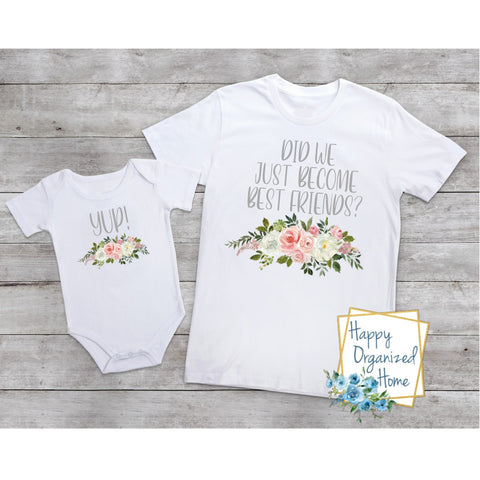 Did we just become friends? Yup!  - Floral bodysuit and tshirt set