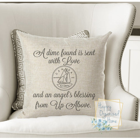 A dime is sent from up above, memorial pillow -  Home Decor Pillow