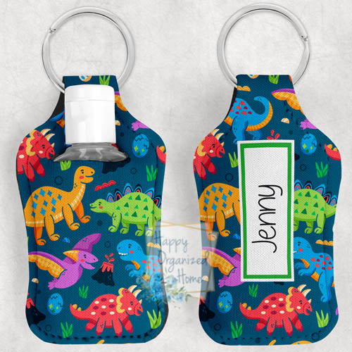 Dinosaur Personalized Hand Sanitizer Holder Key chain. Includes plastic refillable Bottle.
