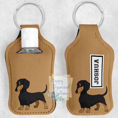 Dachshund Personalized Hand Sanitizer Holder Key chain. Includes plastic refillable Bottle.