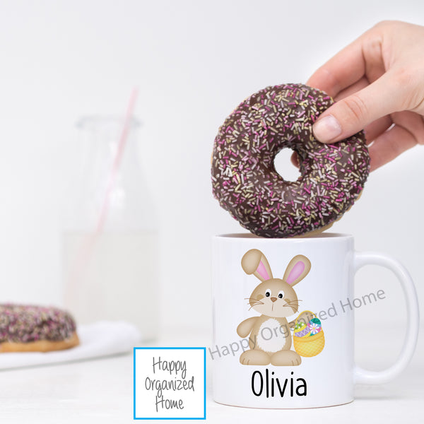Easter Bunny With Basket Personalized Easter Mug