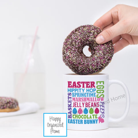 Easter Hippity Hop Word Graphic - Easter Printed Mug