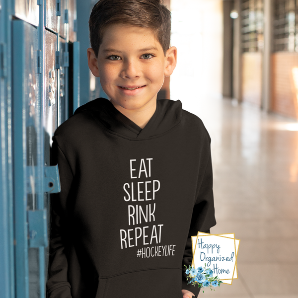 Eat Sleep Rink Repeat - Comfy Youth and Adult Hoodie