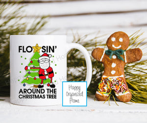 Flossing Around the Christmas Tree  Kids Unbreakable mug
