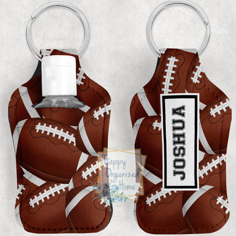 Football Personalized Hand Sanitizer Holder Key chain. Includes plastic refillable Bottle.