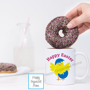 Happy Easter Mug with Chick and Egg