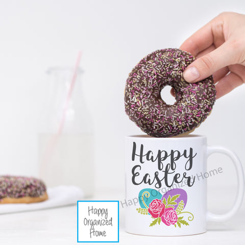 Happy Easter Mug with flowers and Eggs