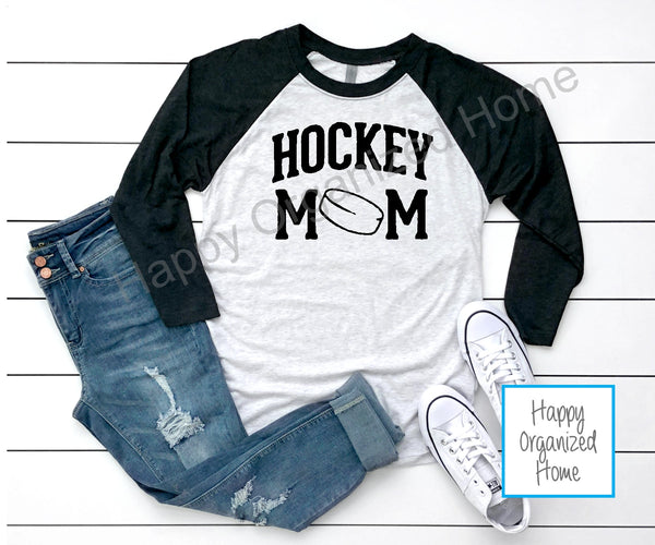 Hockey Mom Ladies Raglan 3/4 sleeve shirt
