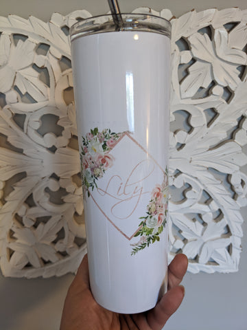Lily personalized skinny tumbler with straw - IMPERFECTIONS