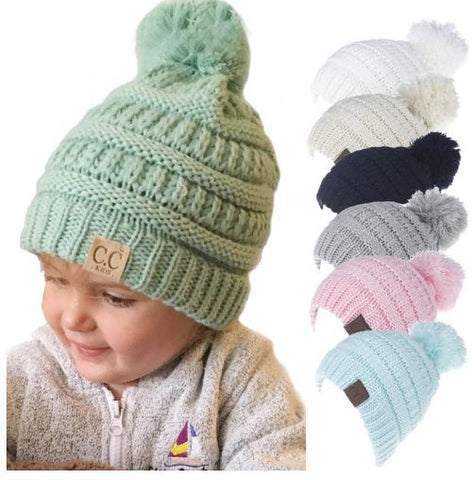 Kids Pompom knit Hat/Beanies