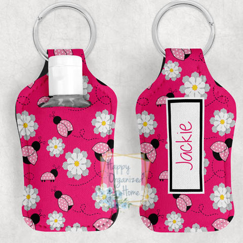 Lady Bug Personalized Hand Sanitizer Holder Key chain. Includes plastic refillable Bottle.