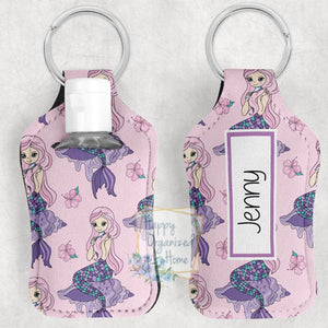 Mermaid Personalized Hand Sanitizer Holder Key chain. Includes plastic refillable Bottle.