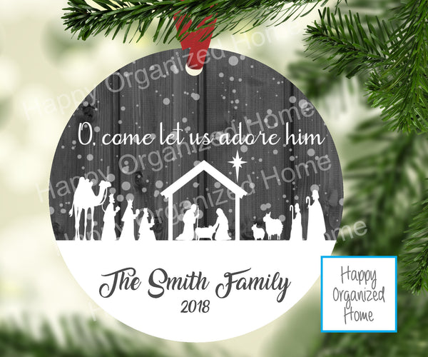 Nativity Family Ornament Personalized