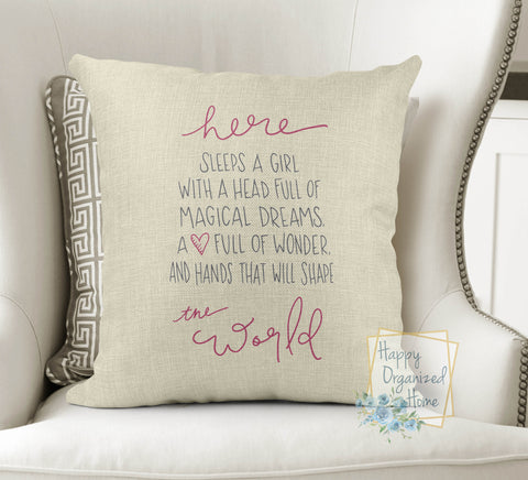 And here sleeps a girl -  Home Decor Pillow