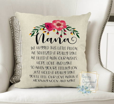 Personalized Nana or Grandma Hugged Pillow