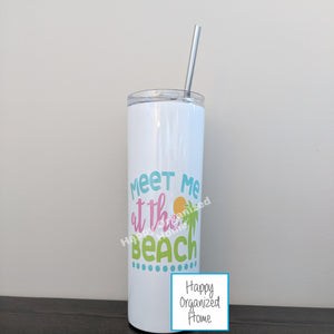 Meet me at the beach - Insulated tumbler with metal straw
