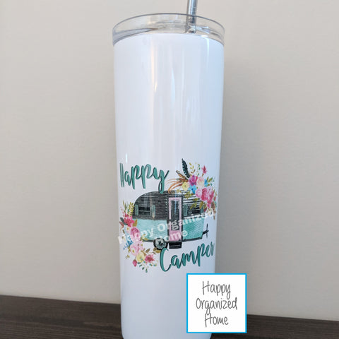 Happy Camper - Insulated tumbler with metal straw