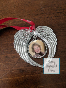 Memorial Ornament with wing and custom photo
