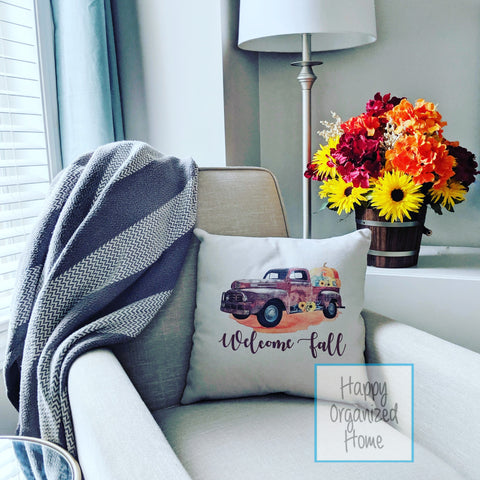 Welcome Fall Pillow with Vintage Truck