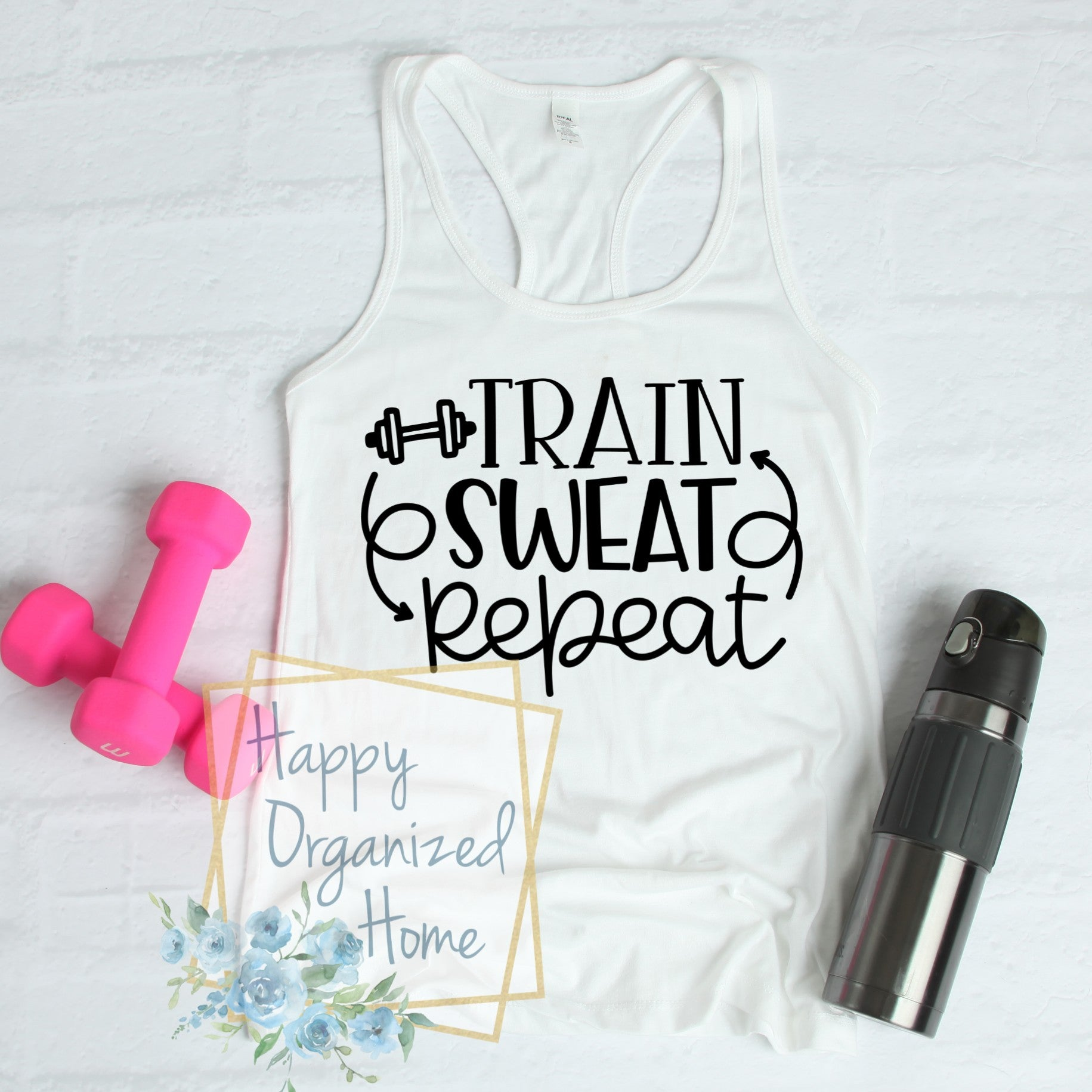 Train, Sweat, Repeat - Ladies Fitness Exercise tank