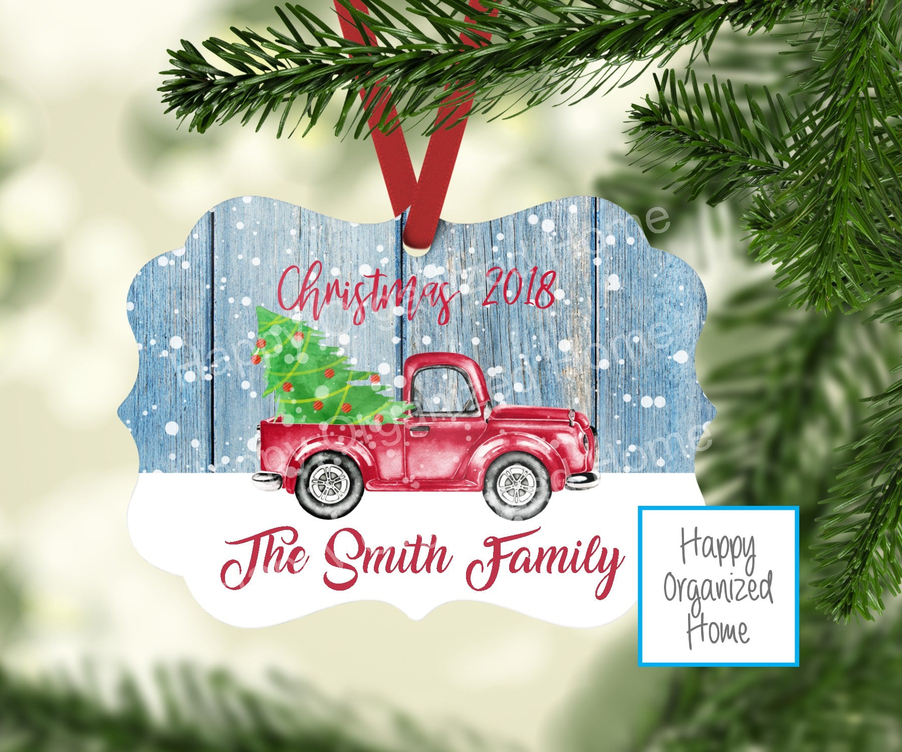 Christmas Red Truck Family Ornament