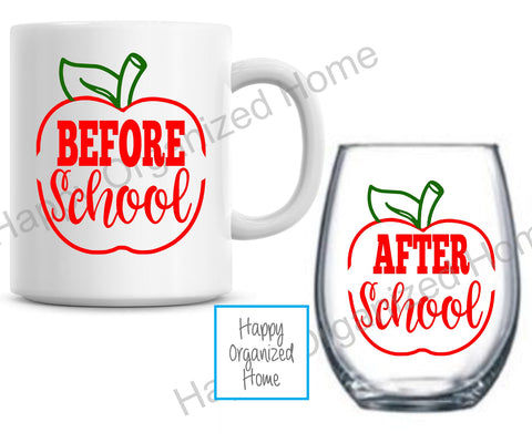 Before School After School Teacher Wine and Mug Gift Set.