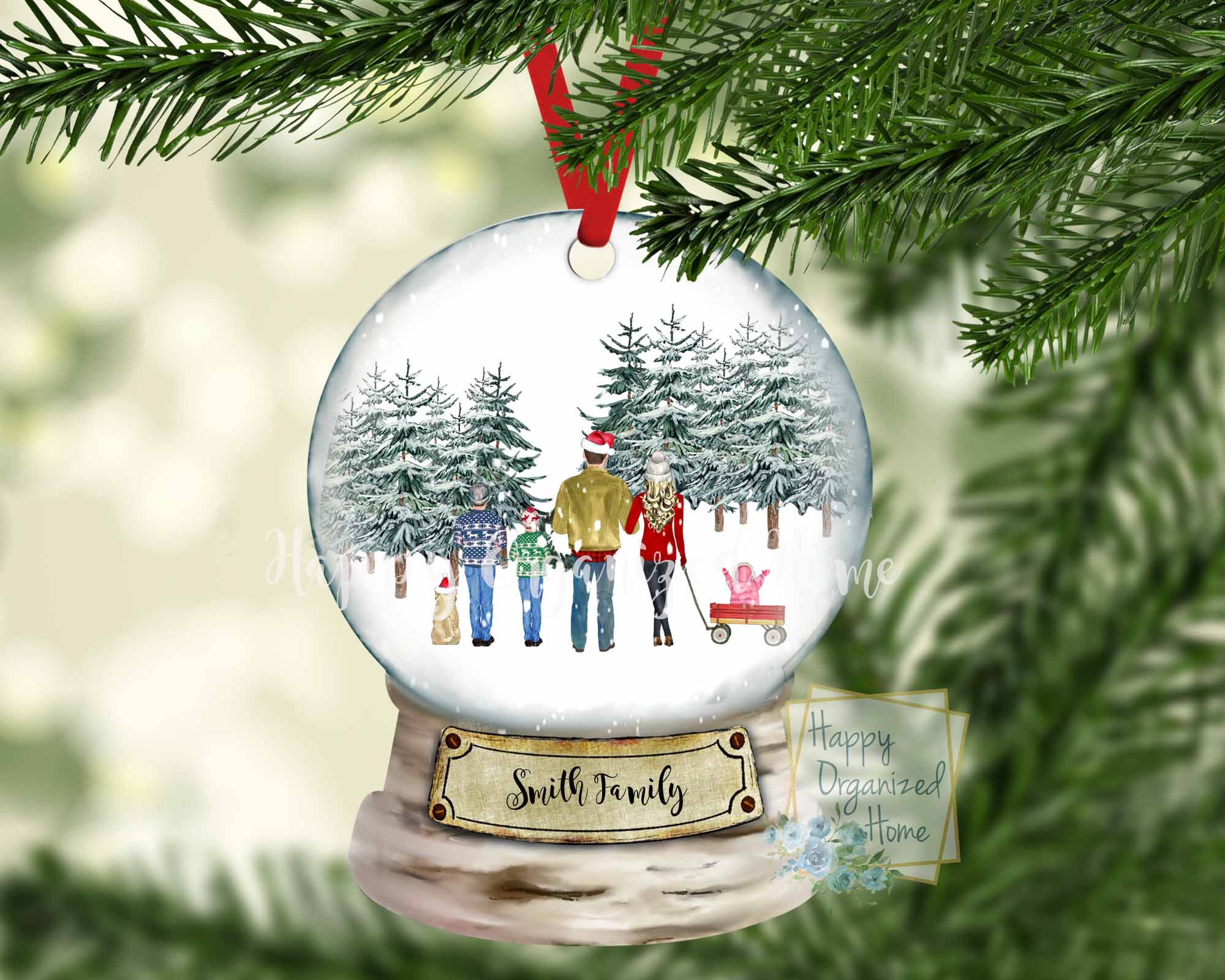 Snow globe Christmas Family ornament - Customized and includes pets