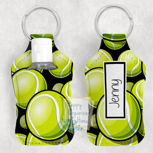 Tennis Personalized Hand Sanitizer Holder Key chain. Includes plastic refillable Bottle.