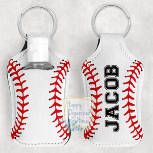 Baseball Personalized Hand Sanitizer Holder Key chain. Includes plastic refillable Bottle.