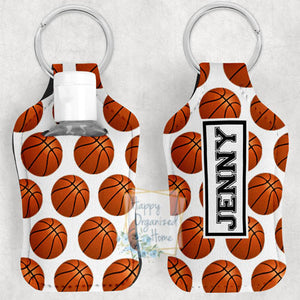 Basketball Personalized Hand Sanitizer Holder Key chain. Includes plastic refillable Bottle.