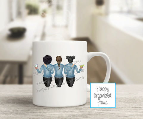 Best Friends Set of 3 - Custom Mugs and Tumblers