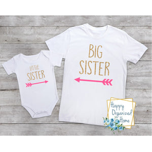 Big Sister and Little sister Glitter Arrows-  bodysuit and tshirt set