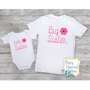 Big Sister and Little sister Flowers -  bodysuit and tshirt set