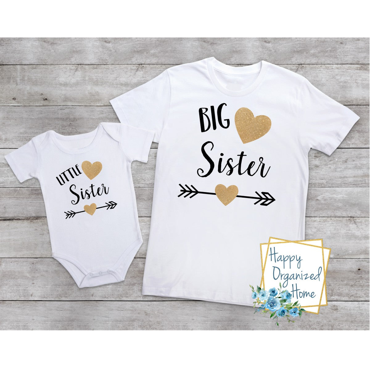 Big Sister and Little sister Heart and Arrows-  bodysuit and tshirt set