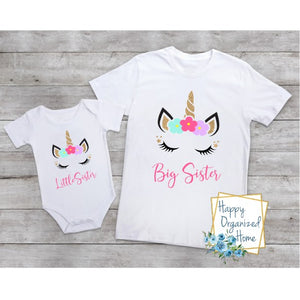 Big Sister and Little sister Unicorn -  bodysuit and tshirt set