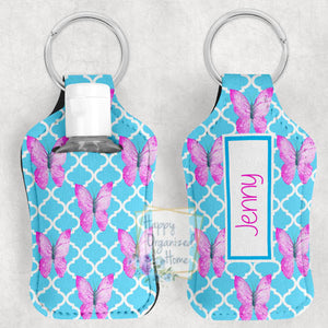 Butterflies Personalized Hand Sanitizer Holder Key chain. Includes plastic refillable Bottle.