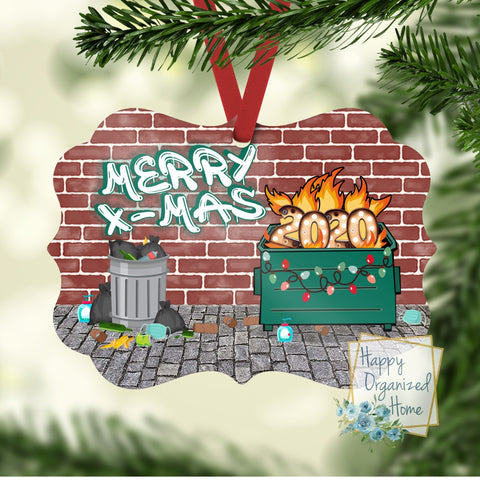 Merry Christmas 2020 Dumpster Fire Ornament - Christmas Ornament