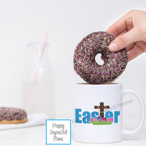 Happy Easter Printed Mug with Cross and Eggs