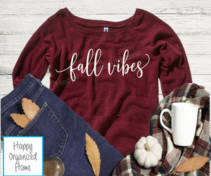 Fall Vibes Ladies Wide Neck Sweater
