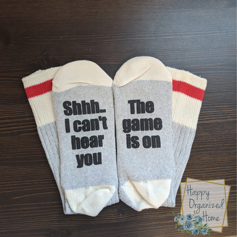 Shhh...I can't hear you. The Game is on - Mens Socks