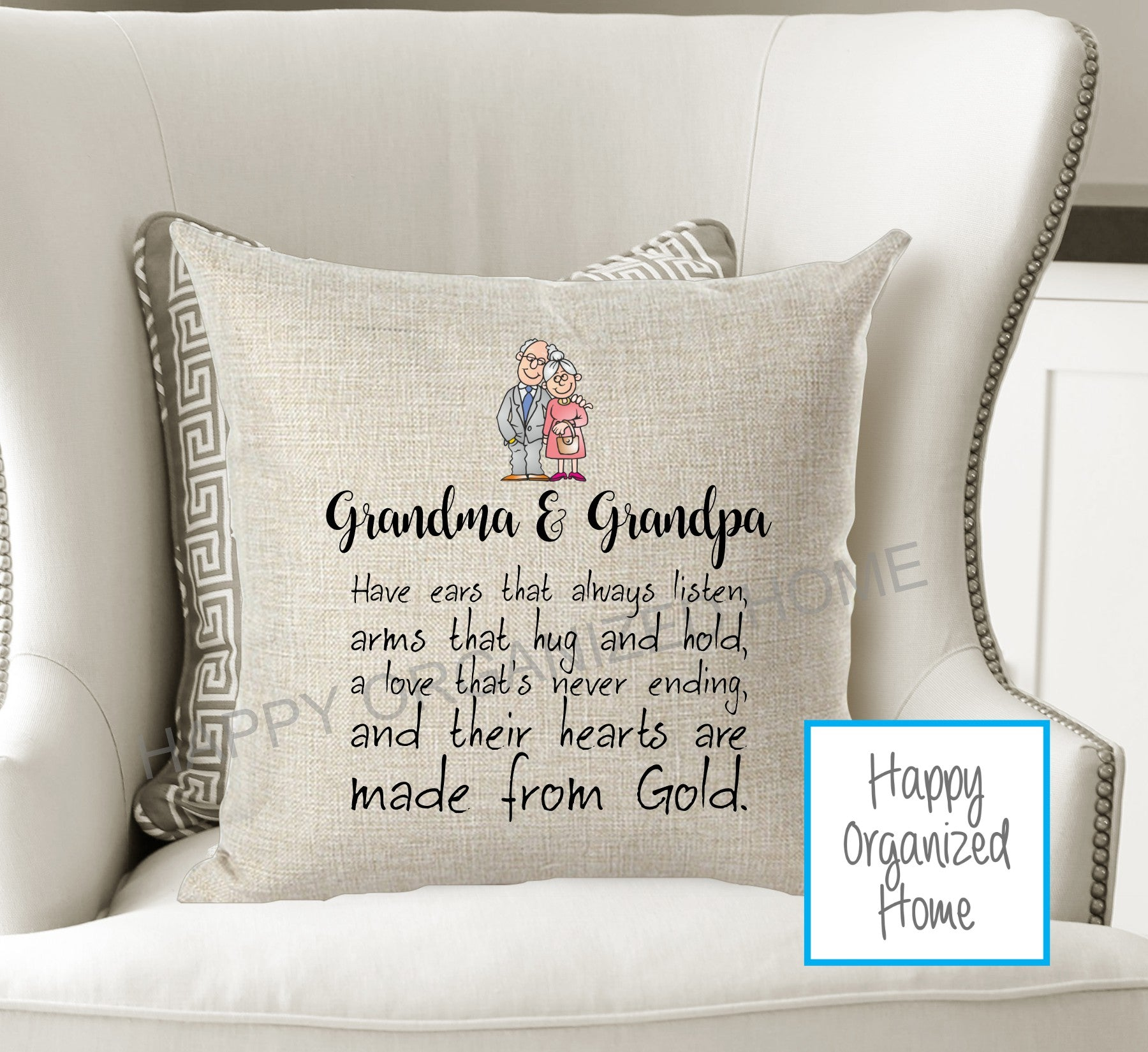 Grandparents have hearts of gold Decorative pillow