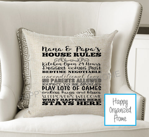 Grandparent House Rules Decorative pillow