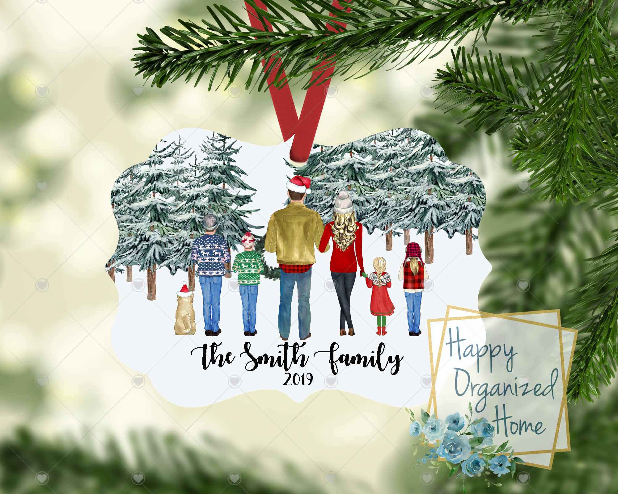 Christmas Family ornament - Customized and includes pets