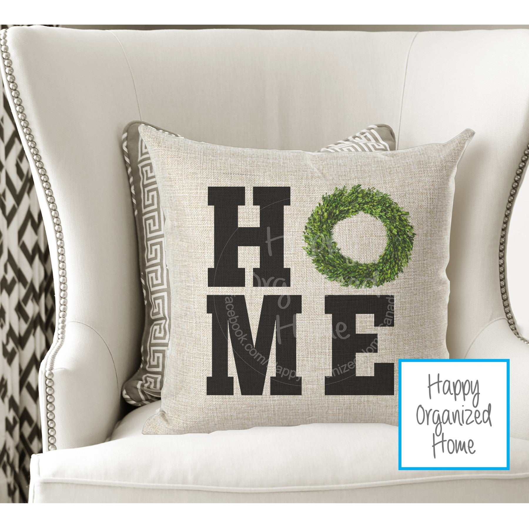 Home Pillow with Wreath Home Decor Pillow - New Home Owner Gift