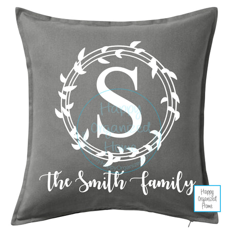 Monogrammed Family Initial Home Decor Pillow - Personalized with Family Name