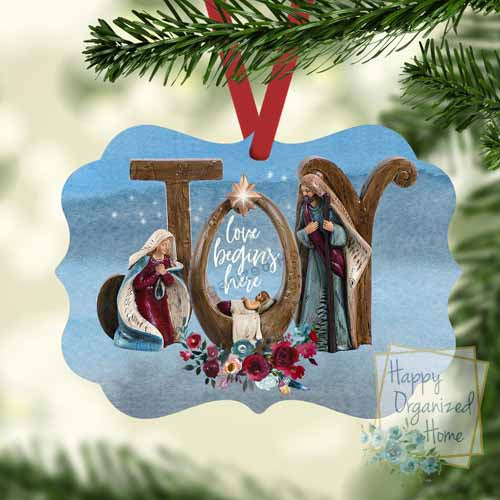 Joy Love Begins Here Ornament Personalized