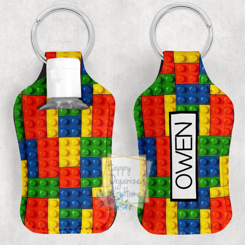Building Block Personalized Hand Sanitizer Holder Key chain. Includes plastic refillable Bottle.
